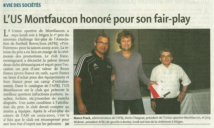 QJ - L'US Montfaucon honoré pour son fairplay